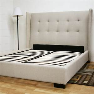 white fabric bed frame with tufted headboard and four With bed frame with cushioned headboard