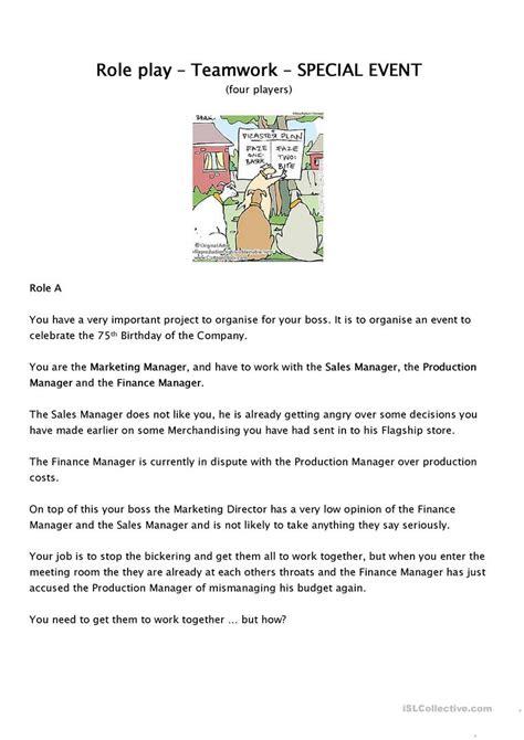 Role Play  Team Work Worksheet  Free Esl Printable Worksheets Made By Teachers