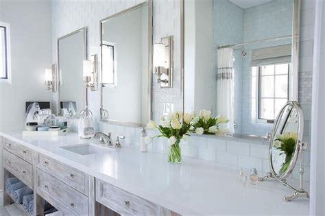 Light Gray Washsatnd With Tall Metal Mirror