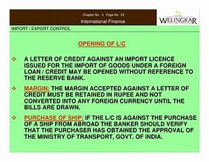 import and export control With loan against letter of credit
