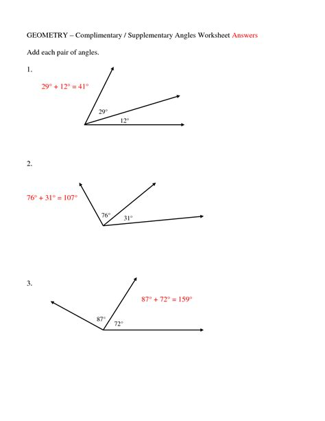 12 best images of supplementary angles worksheet