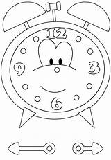 Clock Coloring Alarm Cartoon Pages Sky sketch template