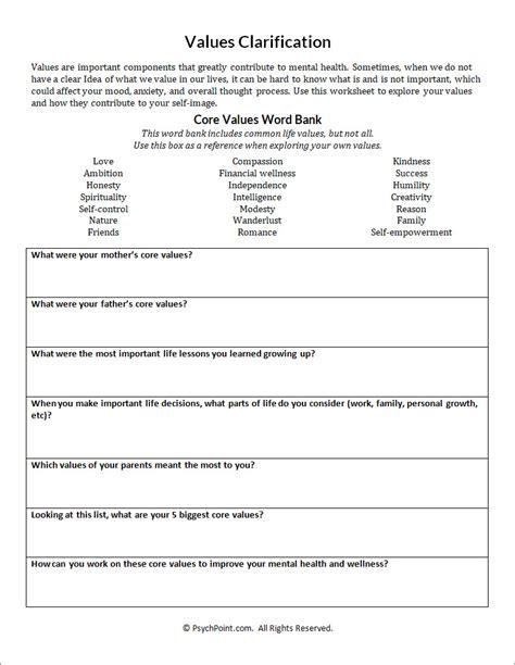 values worksheet values clarification worksheet kidz activities