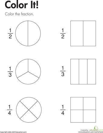 fraction practice color it worksheets math and math