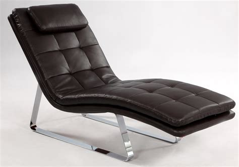 chaises moderne bonded leather tufted chaise lounge with chrome legs