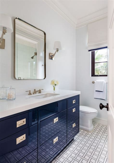 navy blue high gloss vanity basketweave floor tile