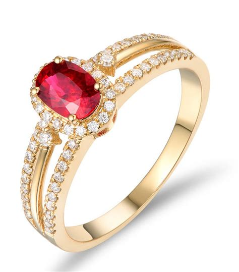 unique 1 carat ruby and halo engagement ring in