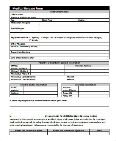 medical release form  child sample  examples