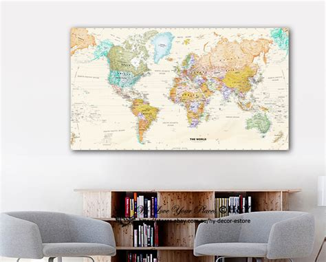 Home Decor Prints : World Map Stretched Canvas Prints Framed Wall Art Home