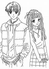 Coloring Anime Pages Couple sketch template