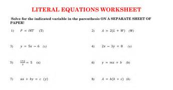 solving equations for y worksheet worksheets literal equation worksheet justptctrusted worksheets and printables