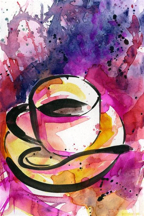 """24 x 18 cm artist: Coffee Cup painting, Colorful Abstract Coffee watercolor art, Original ooak painting """"Coffee ..."""