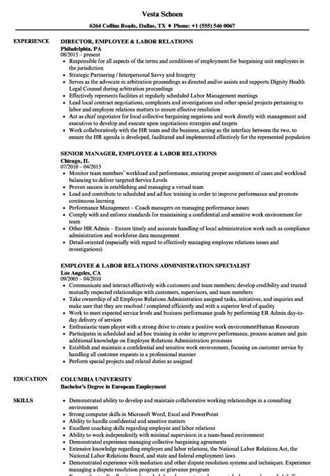 Employee Relations Resume by Employee Labor Relations Resume Sles Velvet