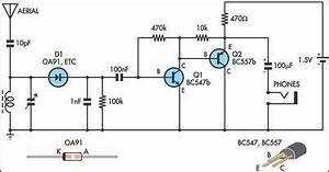 simple am radio receiveroa91 circuit diagram world With simple sound alarm generator using cd4011