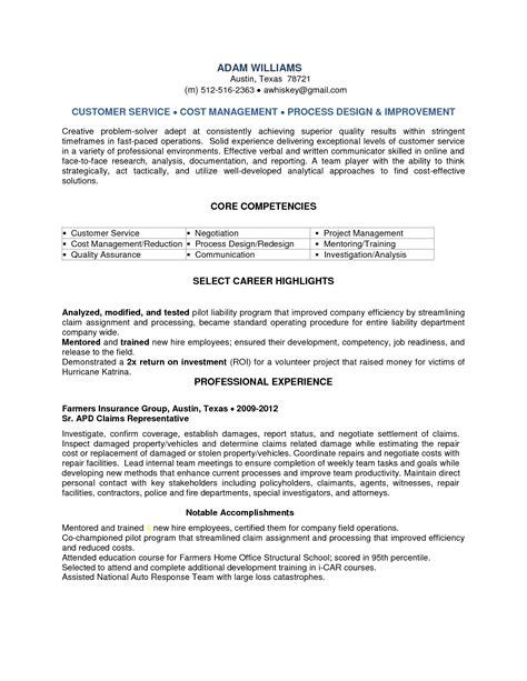 claims representative resume sle 28 images resume sle