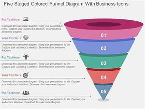 Five Staged Colored Funnel Diagram With Business Icons