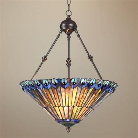 tiffany light fixtures dining room peacock glass 3 light 20 quot wide tiffany style pendant light