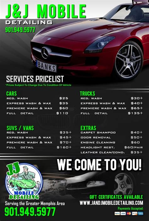 car detailing price list template price list yelp