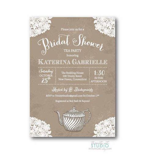 vintage lace tea bridal shower invitation shabby