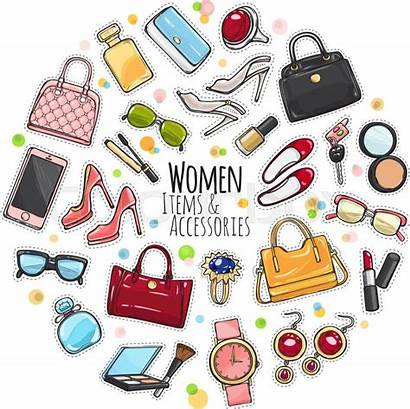 Accessories Items Clipart Vector Bags Woman Different