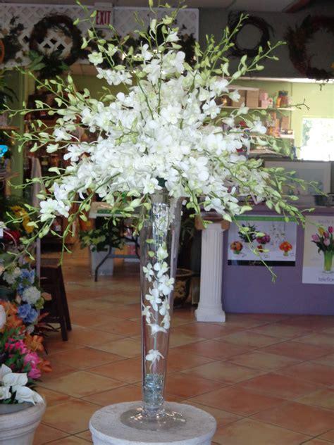 Centerpiece White Dendrobium Orchids Trumpet Vase