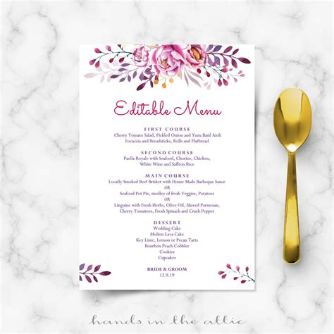 pink wedding menu printable templates hands   attic