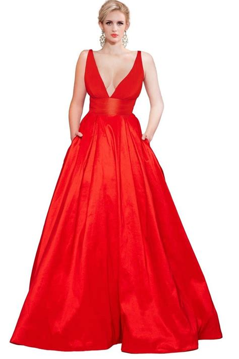 Sexy A Line Deep V Neck Backless Long Red Taffeta Prom Dress