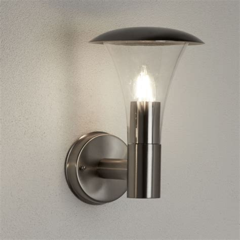 strand ip44 stainless steel outdoor wall light with clear