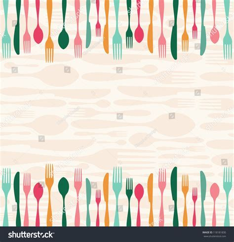 Multicolored Silverware Seamless Pattern Background Stock