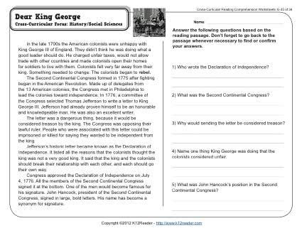 dear king george 5th grade reading comprehension worksheet
