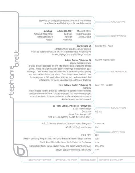 interior design resume  stephanie brett  coroflotcom
