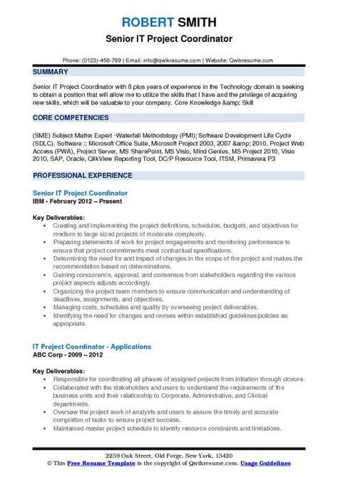 Project Coordinator Resume by Project Coordinator Resume Summary Vvengelbert Nl