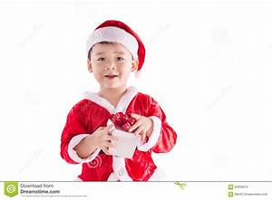 Happy Surprised Kid With Christmas Present Stock Photo ...