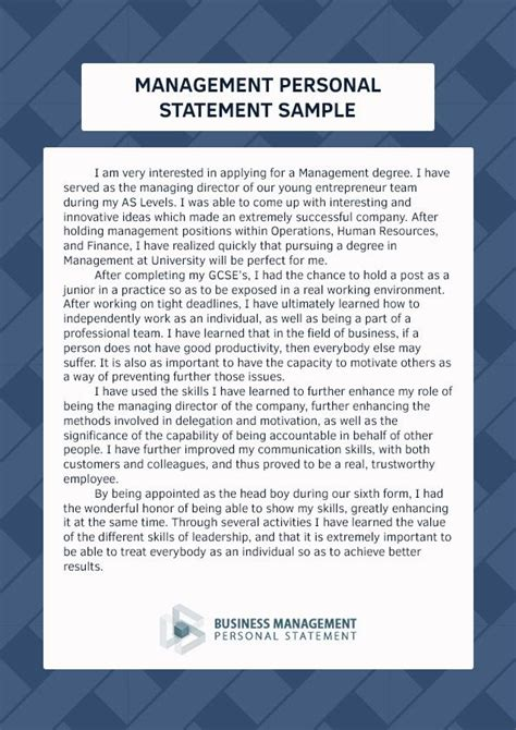 pin  business management personal statement samples