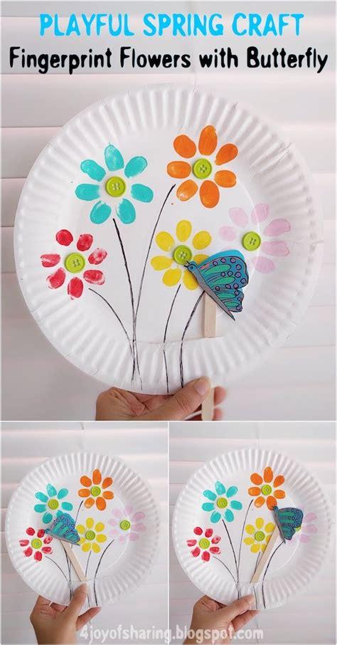 fingerprint flowers  flying butterfly playful spring