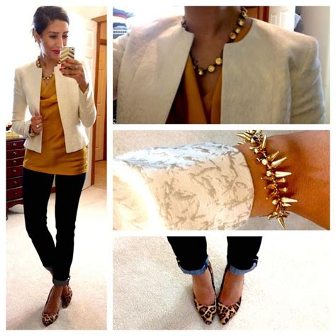 rust colored shirt rust colored shirt white blazer animal pumps gold