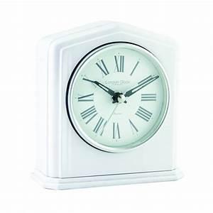 London, Clock, Company, White, Battery, Mantle, Clock, Silver, Finish, 06425