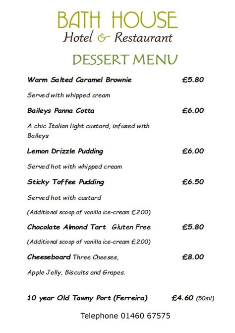 menus  lunch  evening meals bath house restaurant