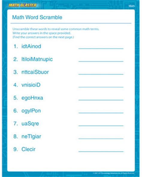 math word scramble st grade math worksheet