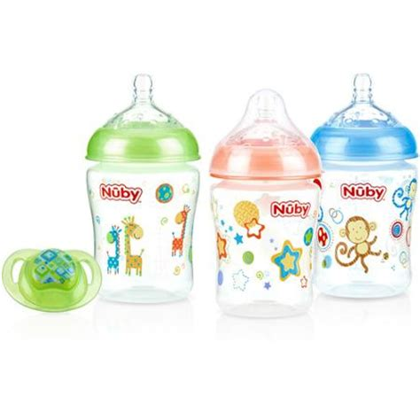 nuby 3 pack natural touch 9 oz printed baby bottles with comfort orthodontic pacifier neutral