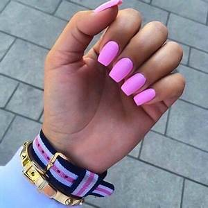 Hot pink square nails Ideas Pinterest