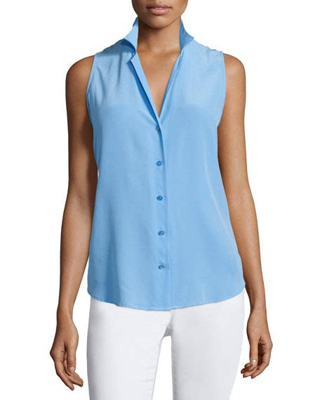 sleeveless button blouse equipment adalyn button front sleeveless blouse blue