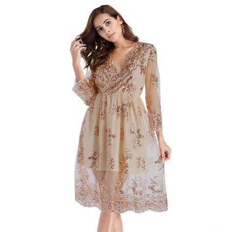 Zmvkgsoa 2018 Female Vintage Sequin Dresses Women Clothing