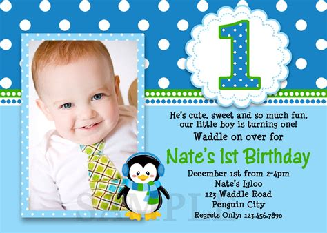 Penguin Birthday Invitation Penguin 1st Birthday Party
