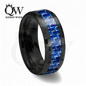 queenwish 8mm black and blue carbon fiber tungsten ring With black and blue mens wedding ring