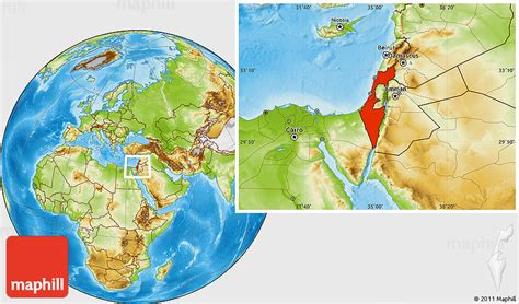 Is Geographical Location by Physical Location Map Of Israel