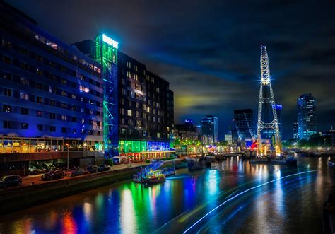 wallpapers rotterdam netherlands pier rivers night time cities