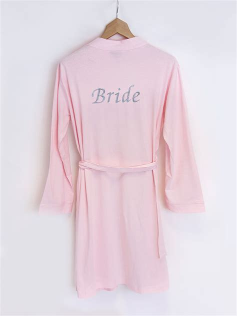 personalised bride pink jersey dressing gown