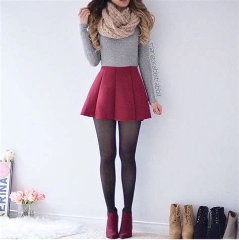 Skirt cute outfits tumblr girly shirt red grey grey grey sweater top grey top tights ...