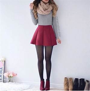 Skirt cute outfits tumblr girly shirt red grey grey ...